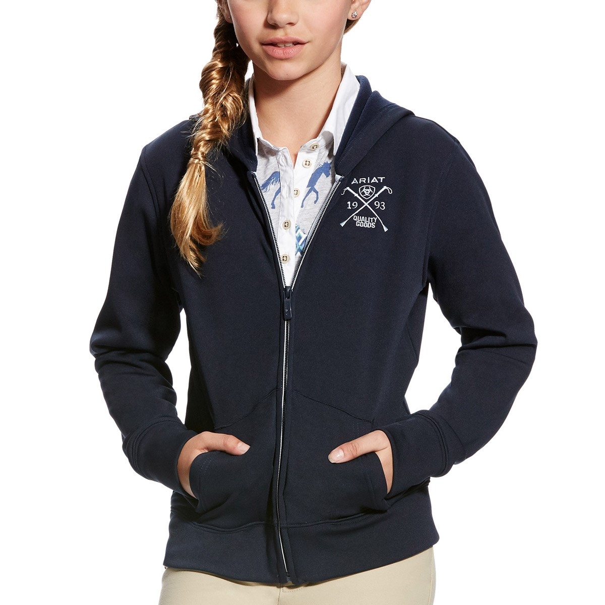 e4d9ad8e57958 Ariat Milton Youth Hoodie - Navy - Redpost Equestrian