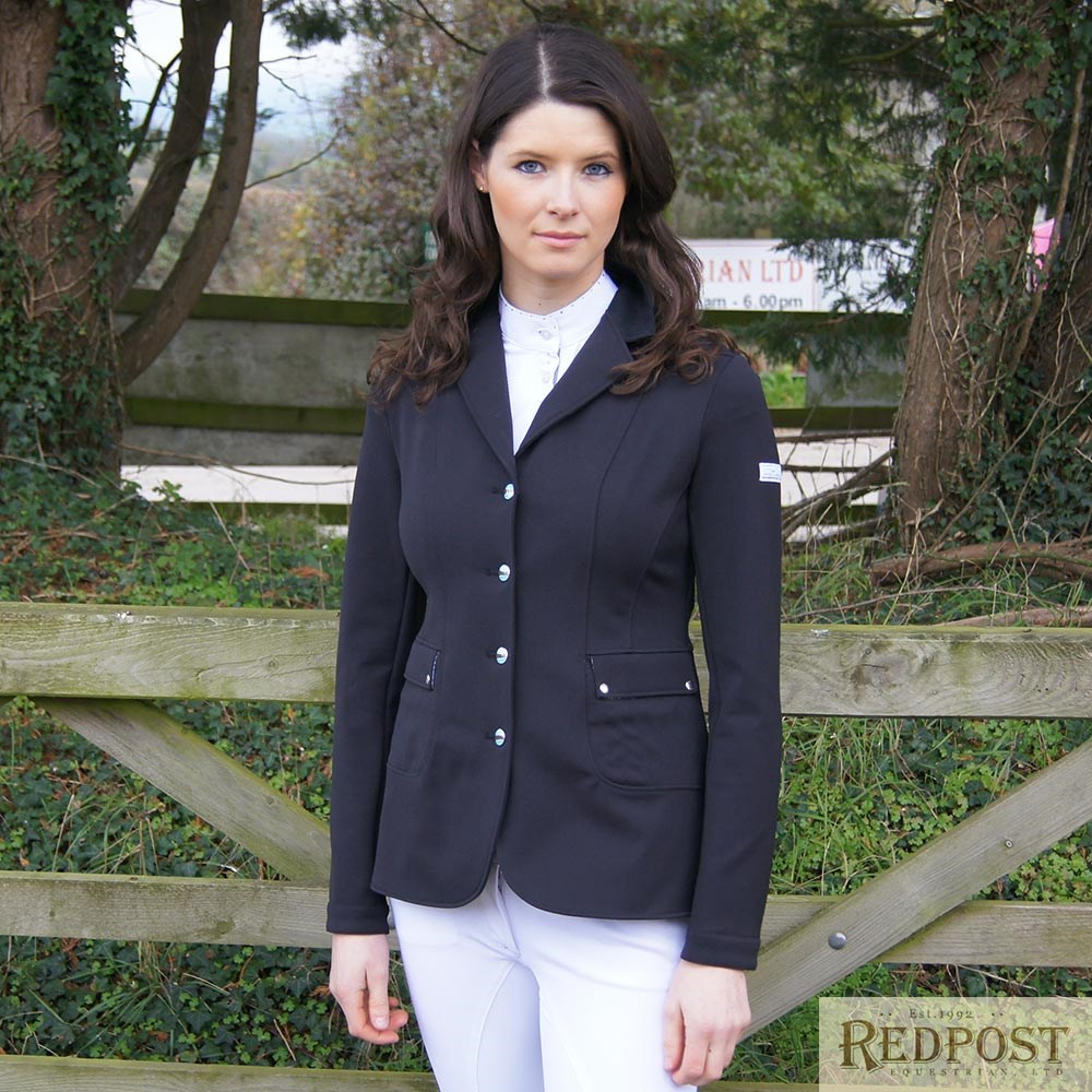 4969807a Animo Liana Ladies Competition Jacket - Nero Black - Redpost Equestrian