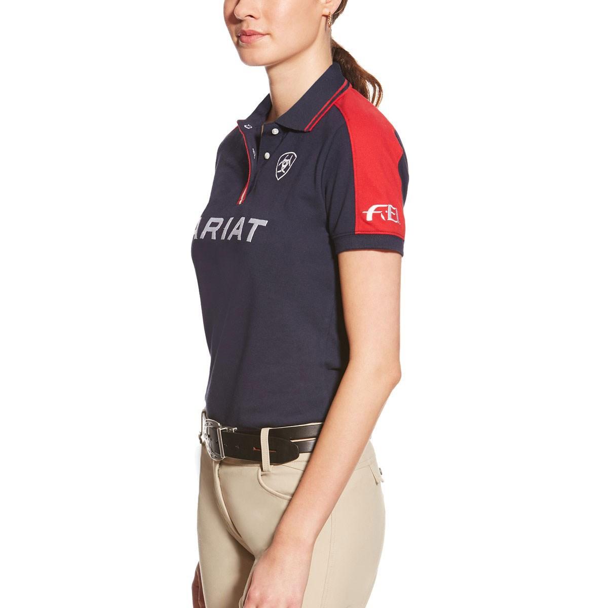 94c29b46 Ariat FEI New Team Polo Shirt Womens - Navy - Redpost Equestrian