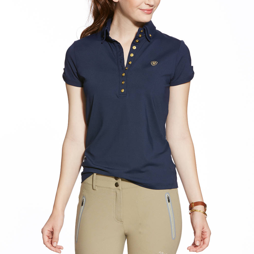 Ariat Marquis Ladies Polo Shirt Navy Redpost Equestrian