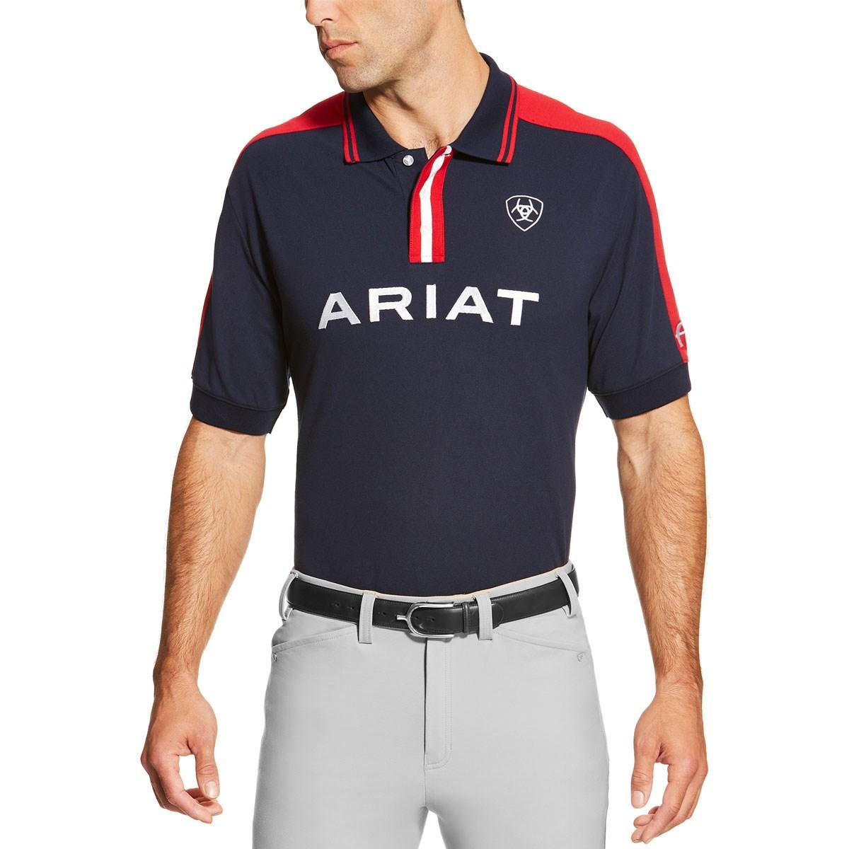 b9209b00 Ariat FEI New Team Polo Shirt Mens - Navy - Redpost Equestrian