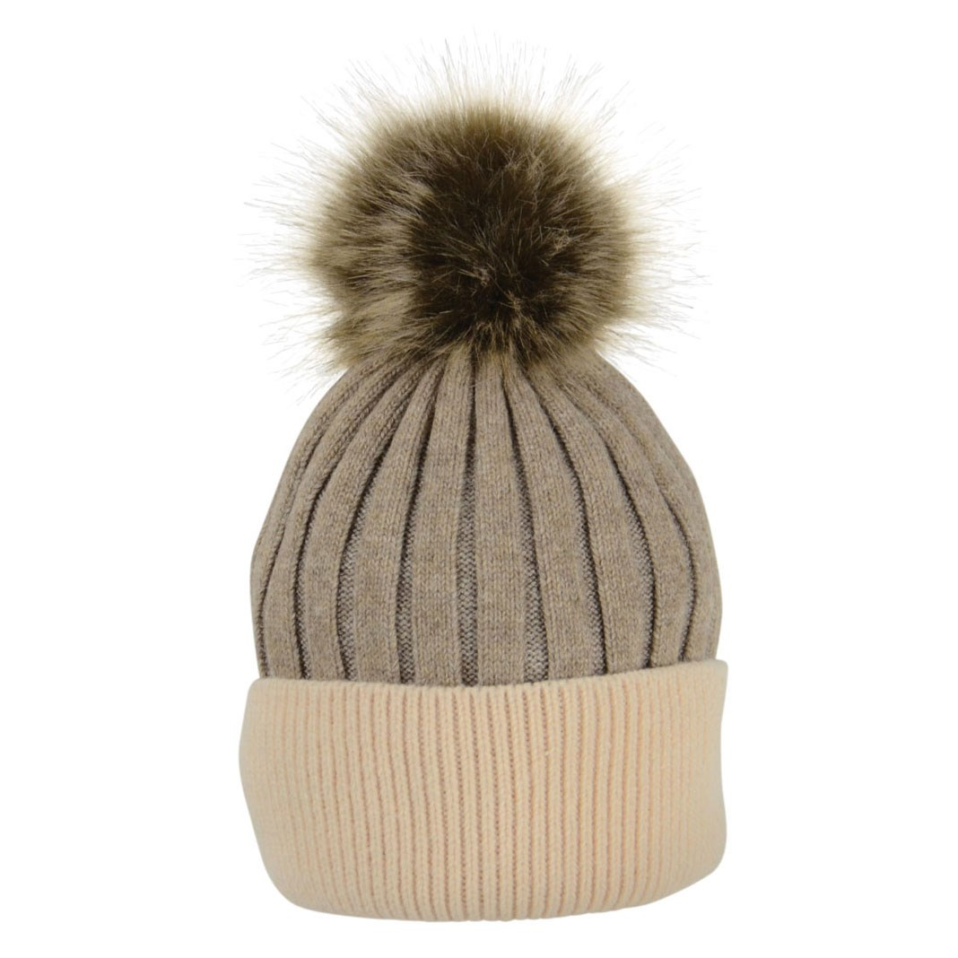 a652a23c1ed HyFASHION Luxembourg Luxury Bobble Hat - Toffee Beige - Redpost Equestrian