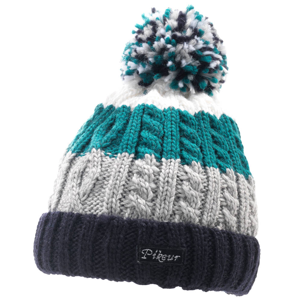 Knitting Patterns Bobble Hats : Pikeur Knit Bobble Hat - Navy/Turquoise/White - Redpost Equestrian