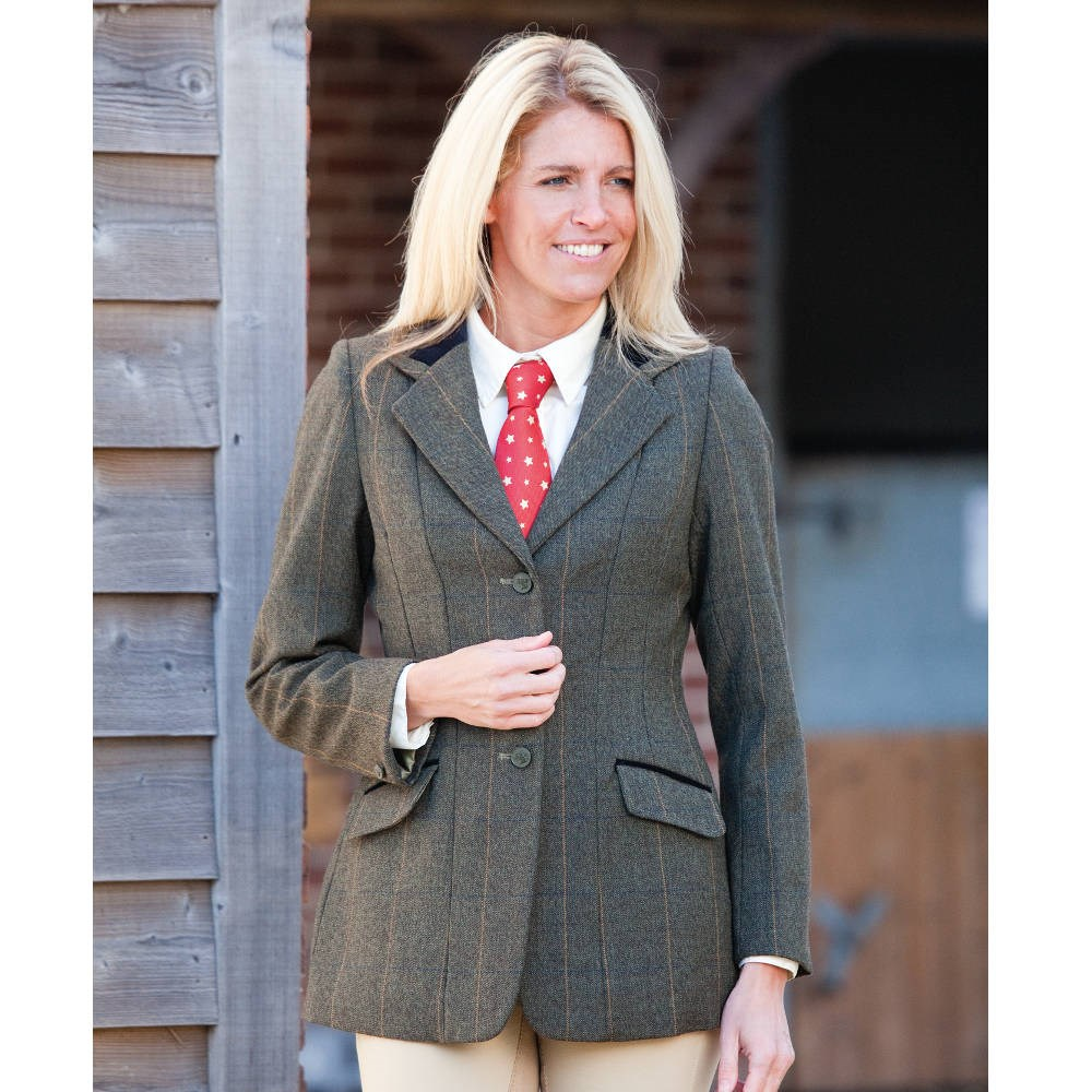 5a7a8414856fc Shires Huntingdon Ladies Tweed Competition Jacket - Green Check - Redpost  Equestrian