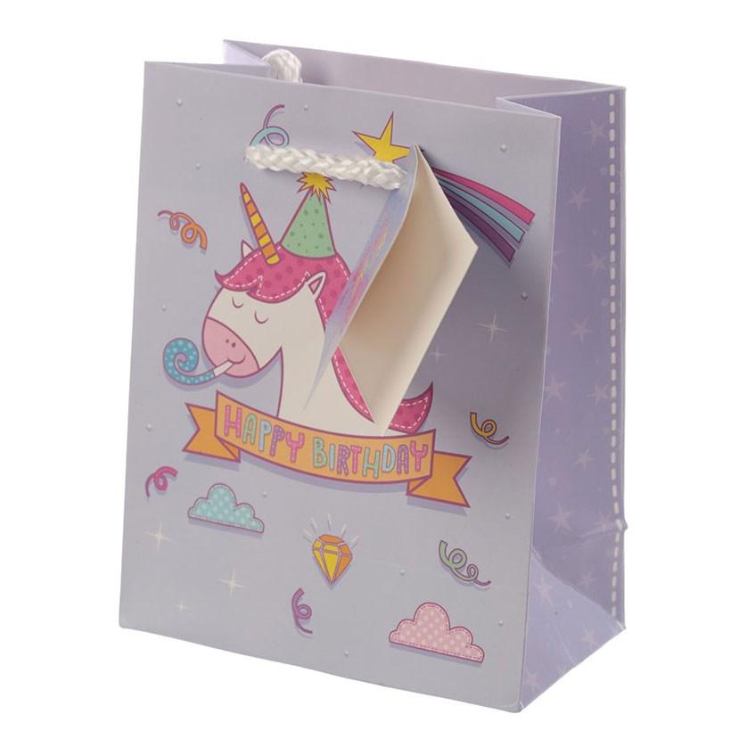 Spartan Enchanted Rainbows Unicorn Birthday Gift Bag Purple Small